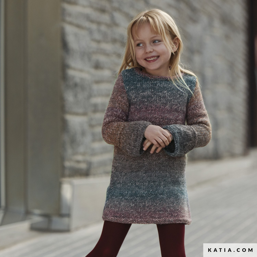 Free Knitting Pattern For A Basic Girls Dress With Long Sleeves Ages 2 4 6 8 And 10 Years Knitting Kids Dress Girls Knitted Dress Girls Dress Pattern Free [ 1000 x 1000 Pixel ]