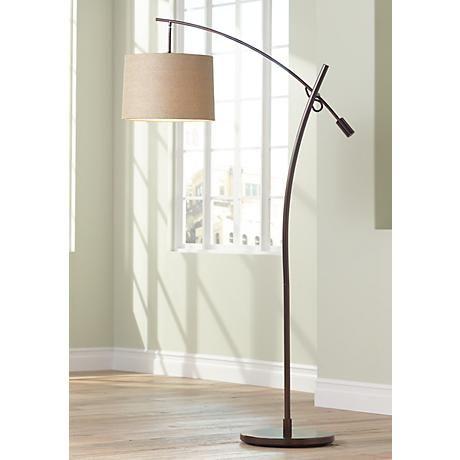Tara Tan Weave Shade Balance Arm Arc Floor Lamp | Lamps | Pinterest ...