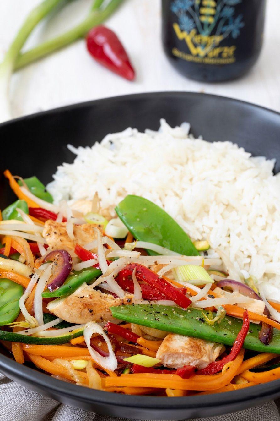 Wok-Gemüse mit Huhn und Reis - Rezept - Sweets & Lifestyle