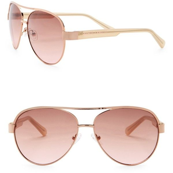d56ccf8d4 Vince Camuto Women's 58mm Aviator Sunglasses ($25) ❤ liked on Polyvore  featuring accessories, eyewear, sunglasses, lens glasses, gradient glasses,  ...