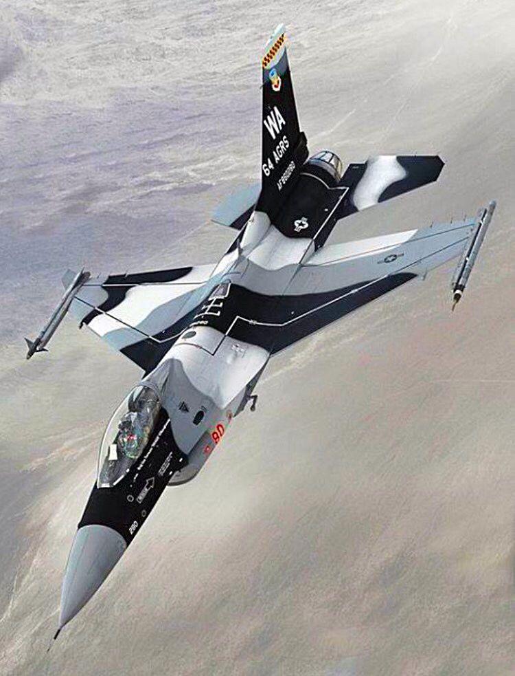 USAF General-Dynamics F-16C Falcon of the 64th Aggressor Squadron.