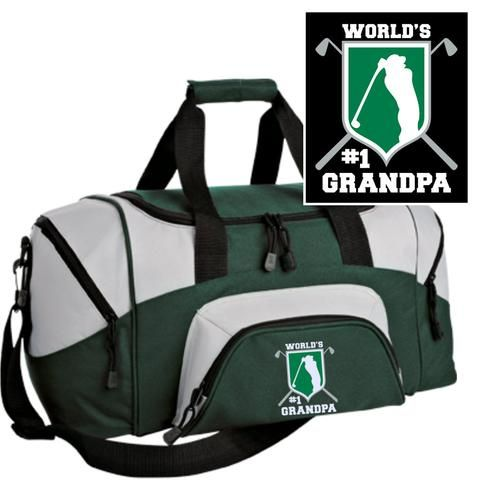 Sport Duffel Bag with Custom Embroidered Golf Emblem & World's #1 Grandpa!  This is