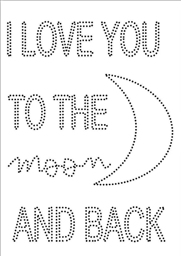 I Love you to the moon and back Schablone   Basteln Kinder ...