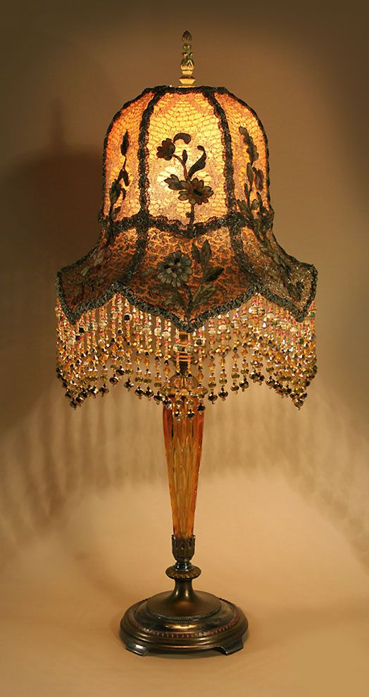 Exquisite vintage lamp amber colored cut crystal lamp with lotus exquisite vintage lamp amber colored cut crystal lamp with lotus bell shape lamp shade 19th century hand embroidered silk chenille flower appliqus aloadofball Choice Image