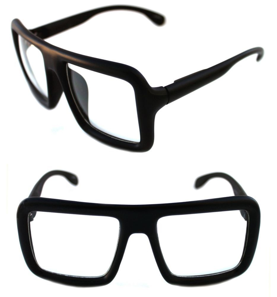 38bd4f58b219 XXL Square Shape Men s Hip Hop 80 s 90s Vintage Eye Glasses RUN DMC Matte  Black