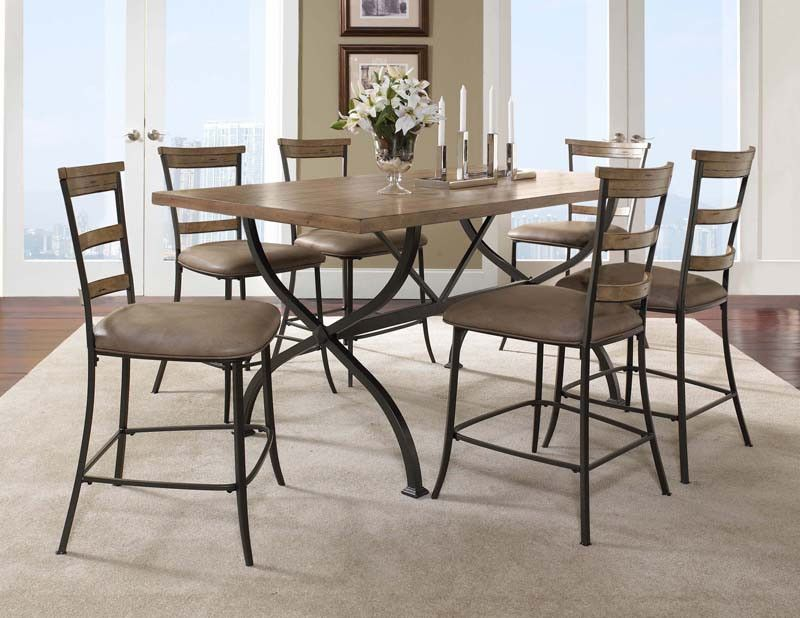 Hillsdale 4670CTBRS57 Charleston 7-Piece Counter Height Rectangle Wood Dining Set w/Ladder Back Stool