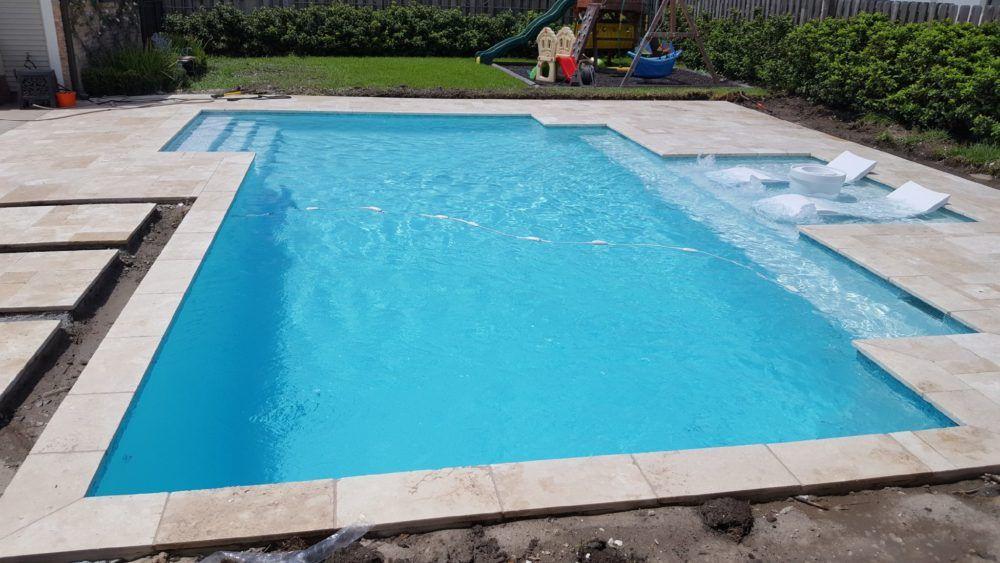 Travertine Houma Swimming Pool Deck And Baja Shelf Crystal Pools And Spas Rectangle Swimming Pools Gunite Swimming Pool Tanning Ledge Pool