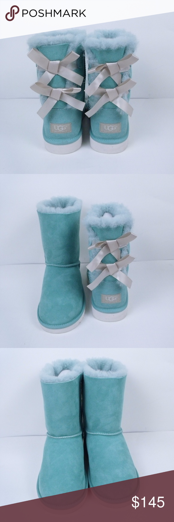 670be898740 UGG Tiffany Blue Bailey Bow Boots Womens 6.5 ~ UGG Bailey Bow Boots ...