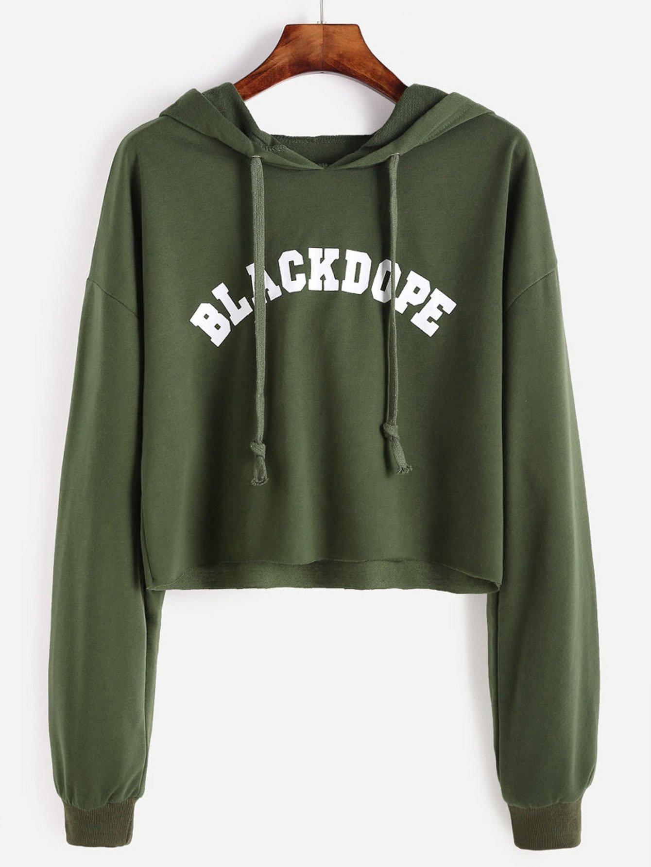df32d9f0329 Black Dope pullover hoodie crop sweatshirt