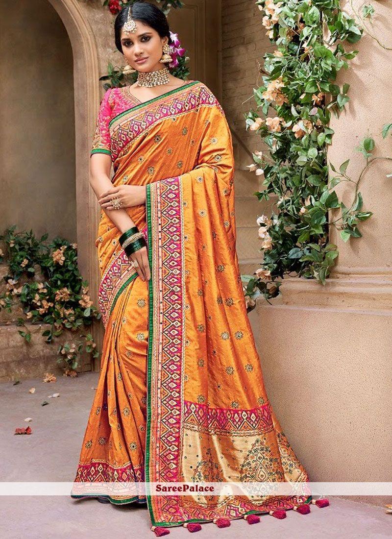 f30e00b93d Orange Banarasi Silk Trendy Saree in 2019   Traditional Sarees ...