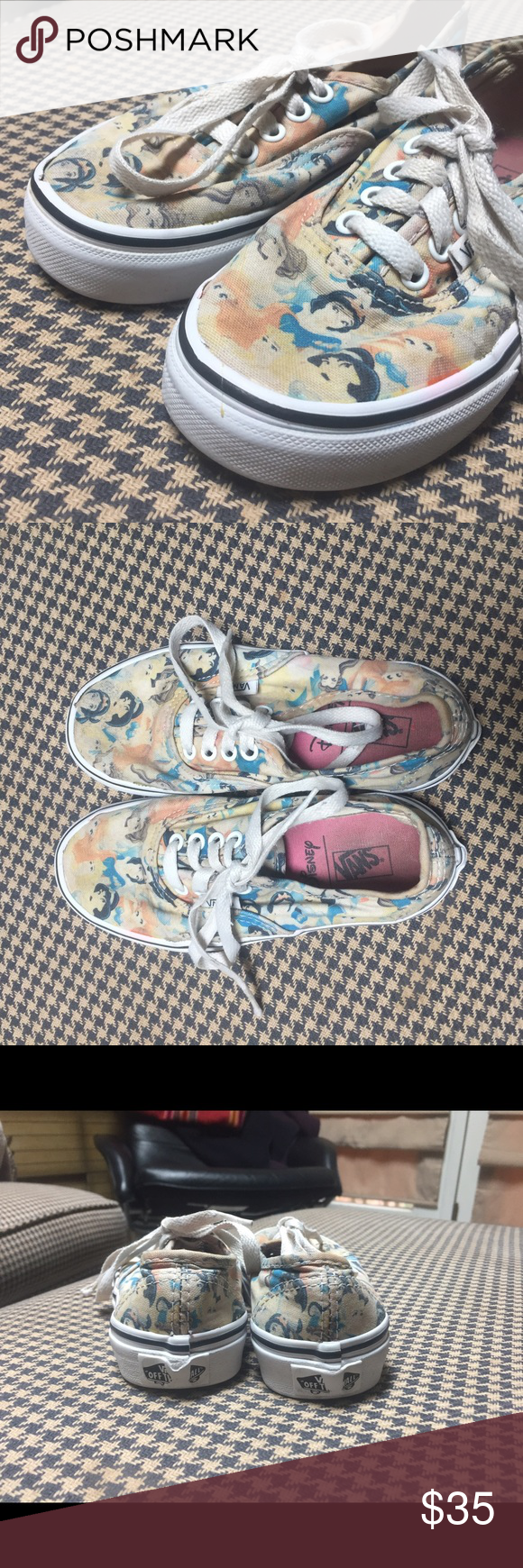 Pair of Used Youth Disney Princess Vans size 13 This is a used pair of rare youth Disney vans with ties. They are faded but still have lots of wear in them! Youth size 13 Vans Shoes Sneakers