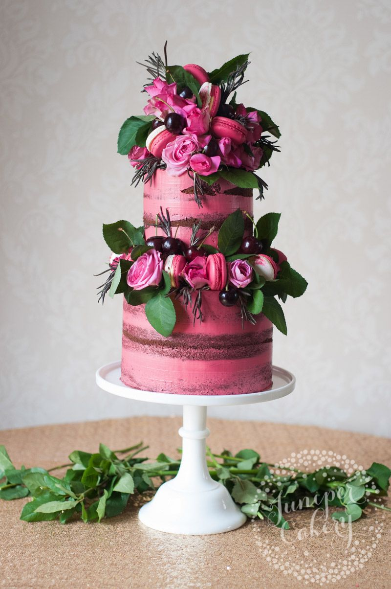 Pretty Pink Naked Cake With Cherries Macarons And Roses By Juniper