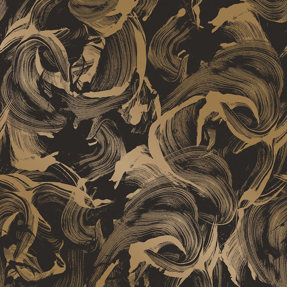 L Amour Matte Black Gold Gold Metallic Wallpaper Gold
