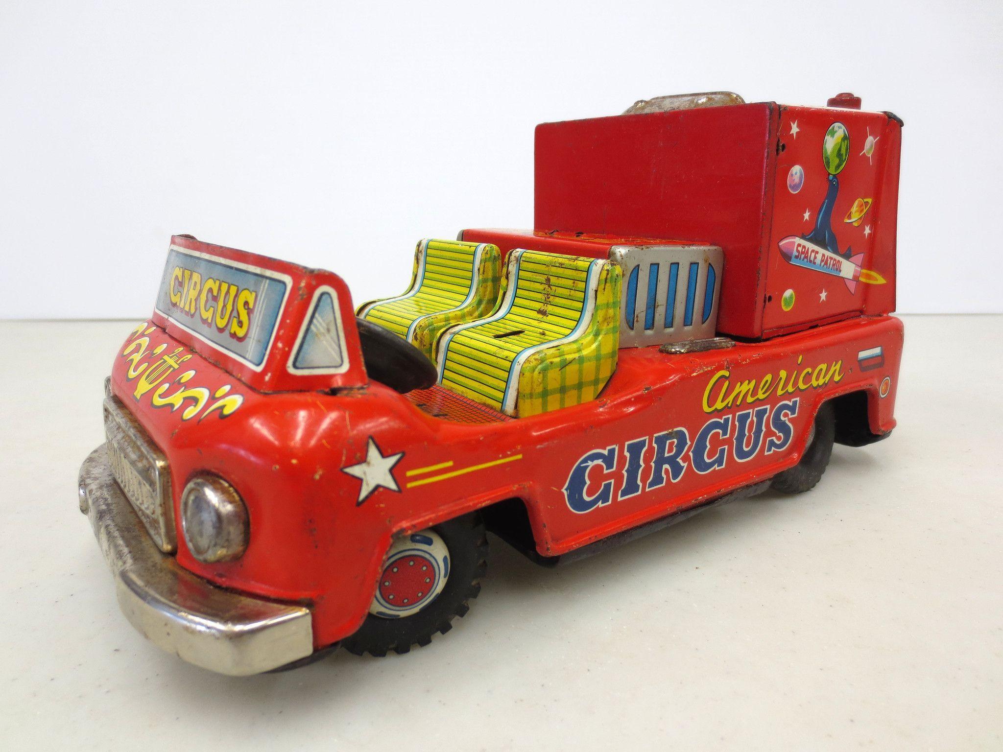Vintage 1950's Tin Circus Toy Car, Exelo Japan, Clown