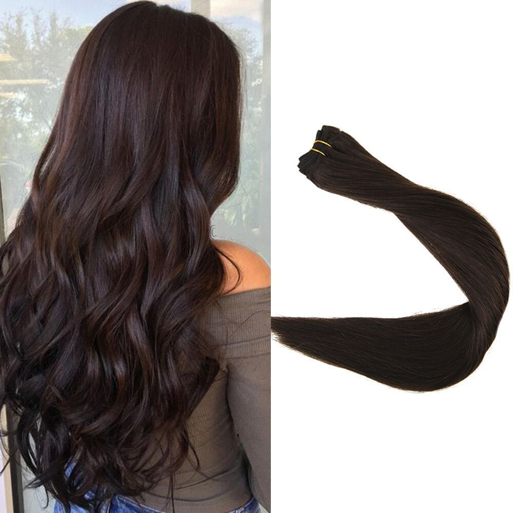 Thick Double Weft Hair Extensions Straight Color 2 Dark Brown