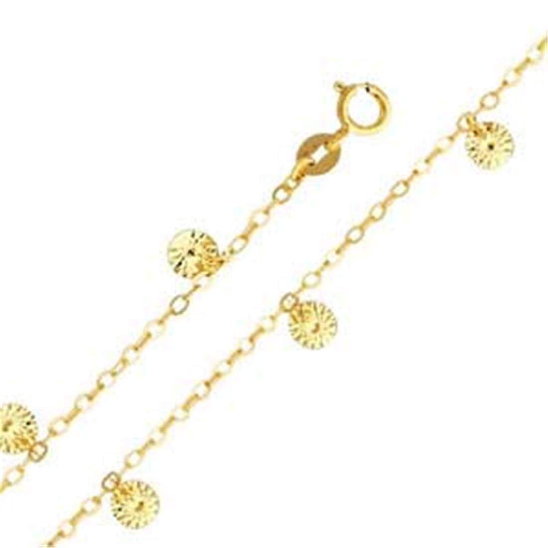 "14K Yellow Gold Charm Anklet(Length: 9+1""""): Anklet"
