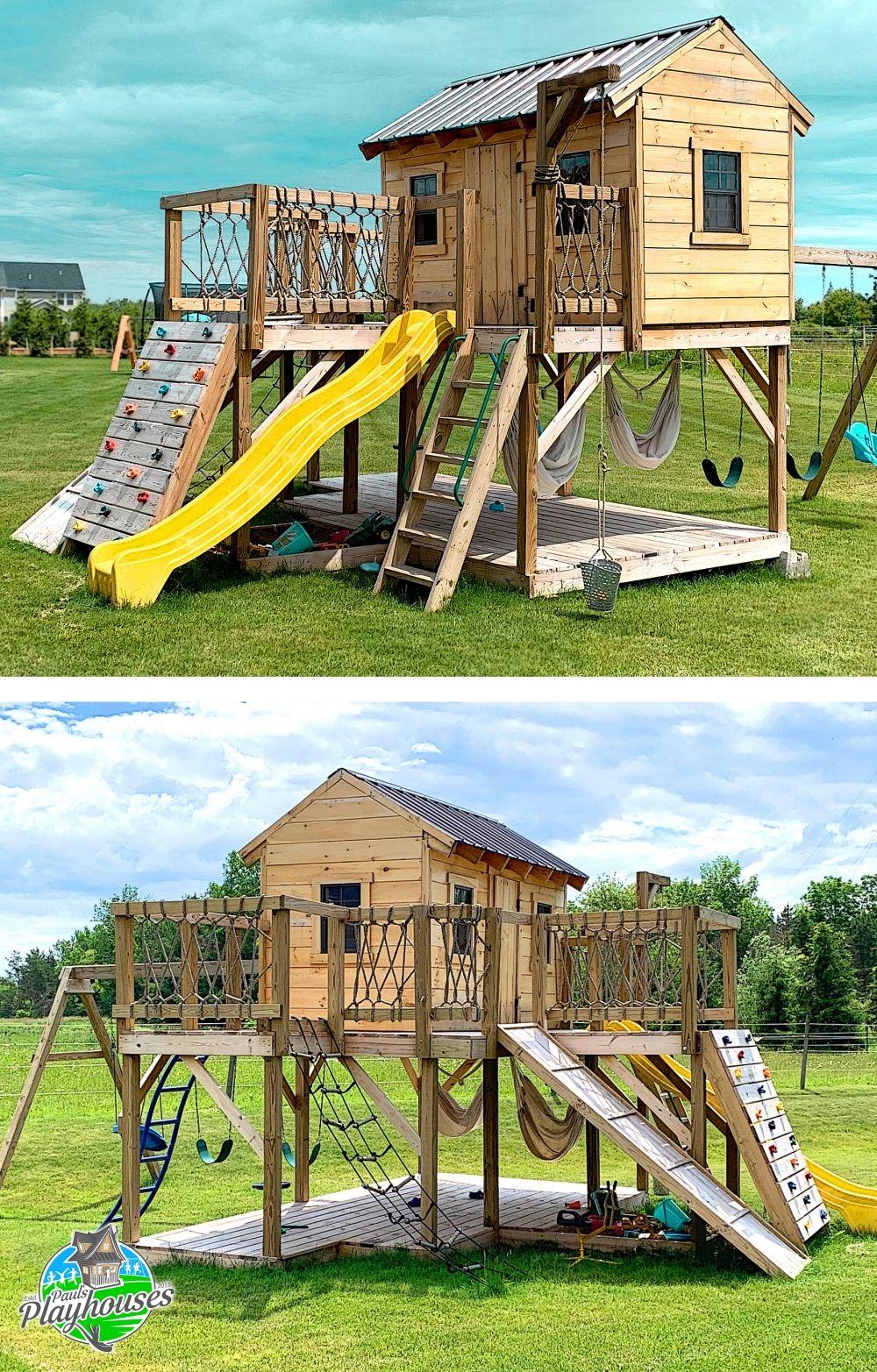 Playground Playhouse Plan 2 Sizes Cabane Bois Enfant Cabane