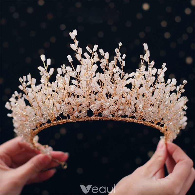 Luxury / Gorgeous Gold Tiara 2019 Metal Crystal Beading Bridal Hair Accessories