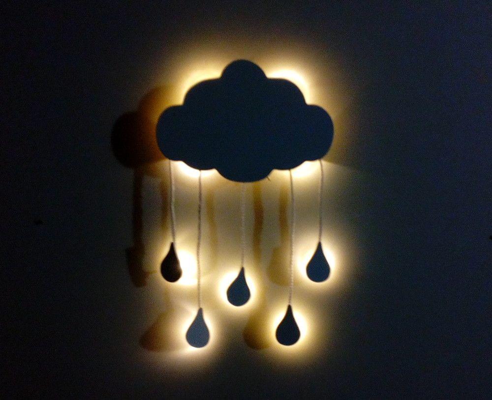 Nuvem Com Luz Led E Gotas Chuva Led Ilumina O De Led Paredes  ~ Luminaria A Pilha Para Quarto E Pintura De Quarto De Bebê