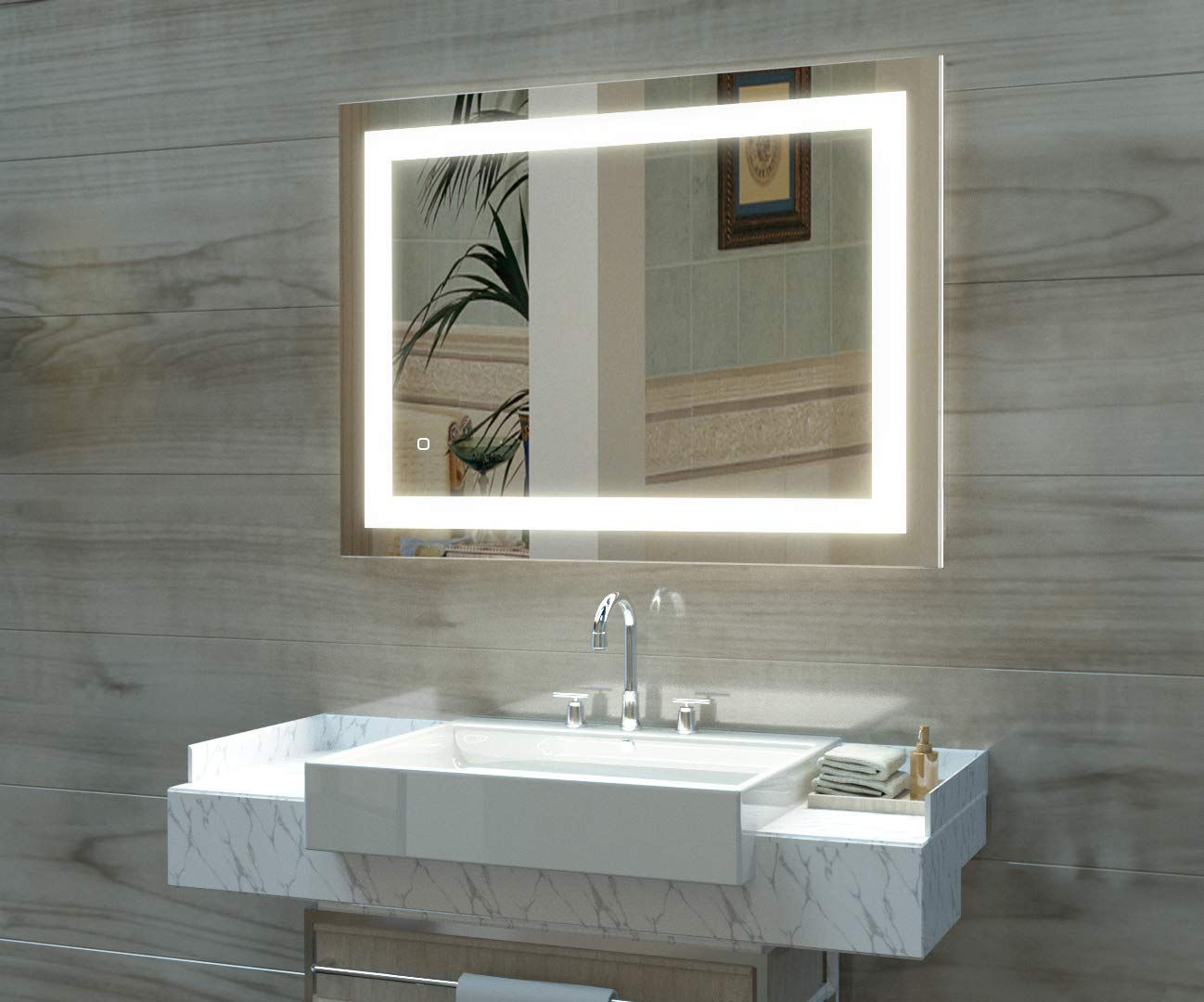 Amazon Com Hauschen 36x28 Inch Led Lighted Bathroom Wall Mounted Mirror With High Lumen Cri Wall Mounted Mirror Large Bathroom Mirrors Bathroom Mirror Lights