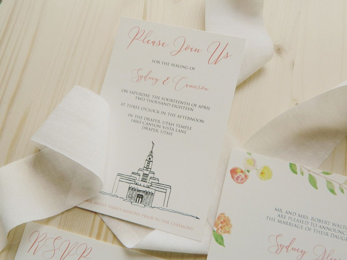 Wedding Invitation Suite Watercolor Flowers Bright Colors