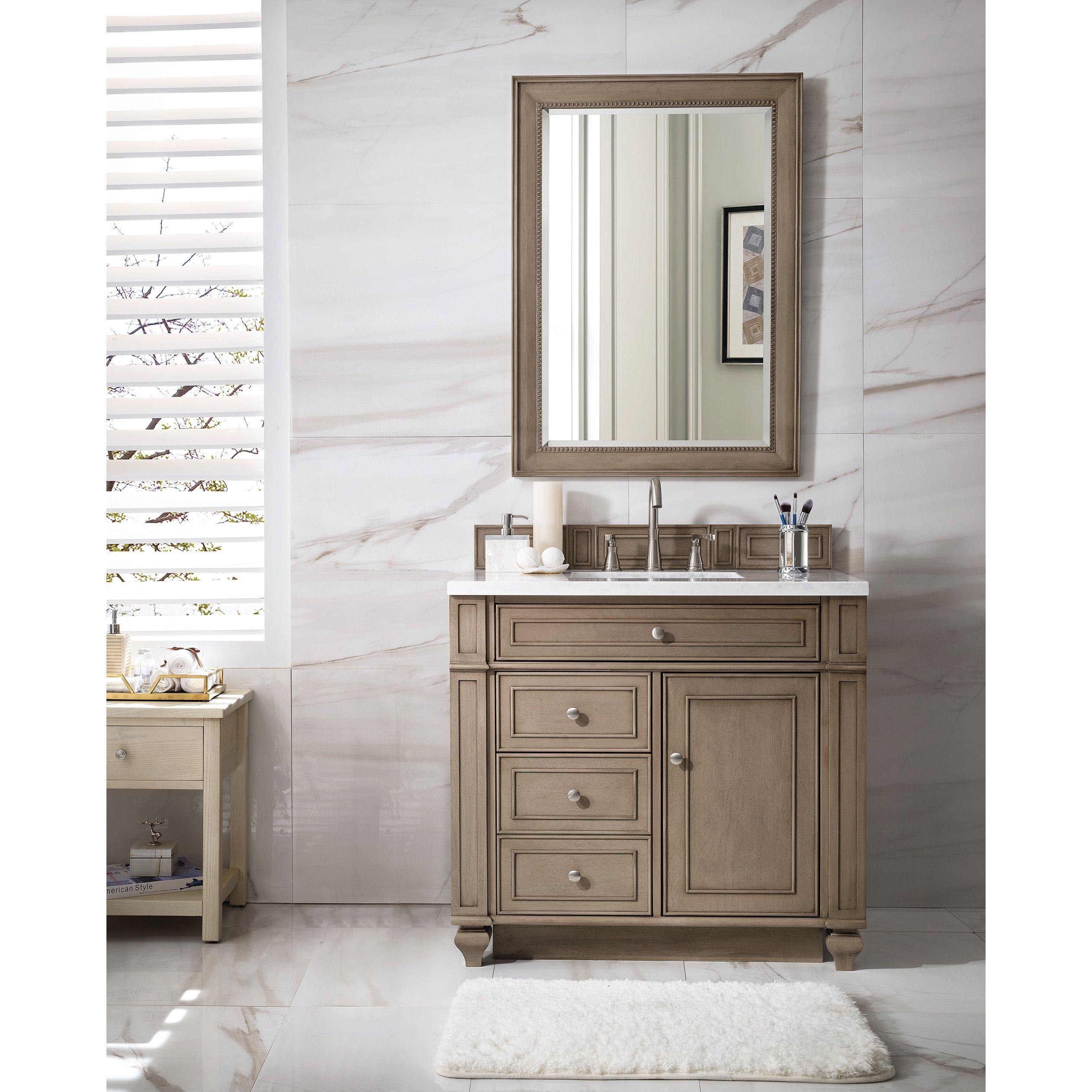 James Martin Furniture Bristol 36 Single Vanity White Washed Walnut Brown Base Only No Top N A