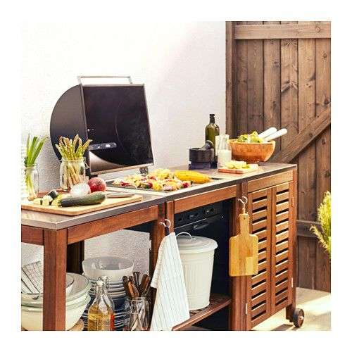 ÄPPLARÖ / KLASEN Charcoal grill with cart  cabinet - brown stained