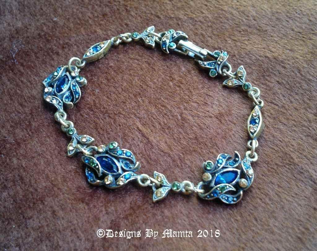 Vintage s multi colored rhinestone bracelet floral crystal