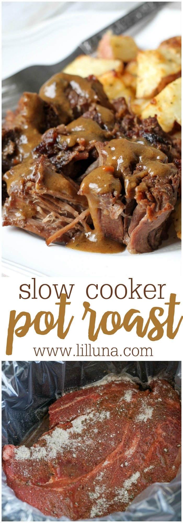 Slow Cooker Pot Roast Recipe - Just 4 Ingredients! | Lil' Luna
