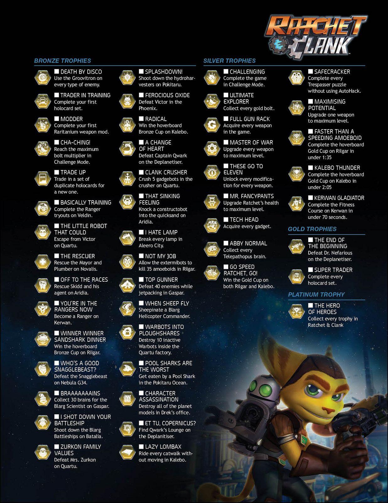 Ratchet And Clank Trophiesachievements Ratchet Pinterest
