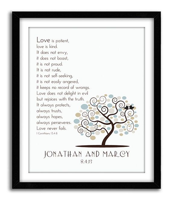 Wedding Bible Verse 1st Corinthian 13 Customized Wedding ...
