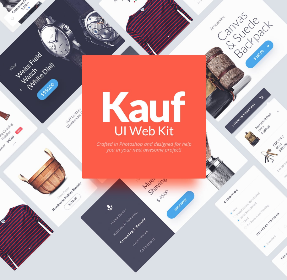 Kauf Free UI Web Kit | Interfaces | Ui kit, Ui website