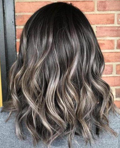 Subtle Ash Brown Balayage Lob Brown Balayage Ash Brown Balayage Brunette Hair Color
