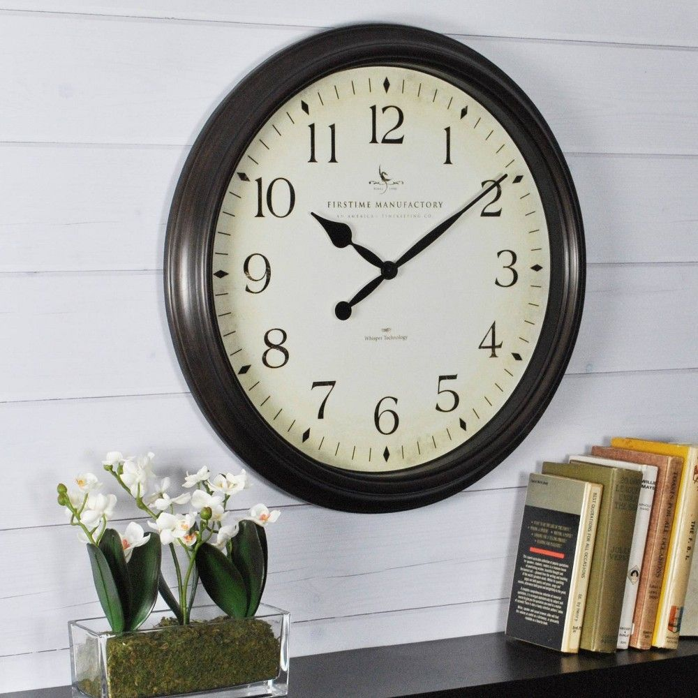 Avery Whisper 20 Round Wall Clock Oil Rubbed Bronze Firstime Black Wall Clock Wall Clock Classic Gear Wall Clock