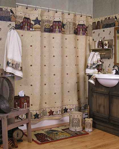 Primitive Decorating Ideas Primitive Bathroom Decor Design And - Country shower curtains for the bathroom for bathroom decor ideas