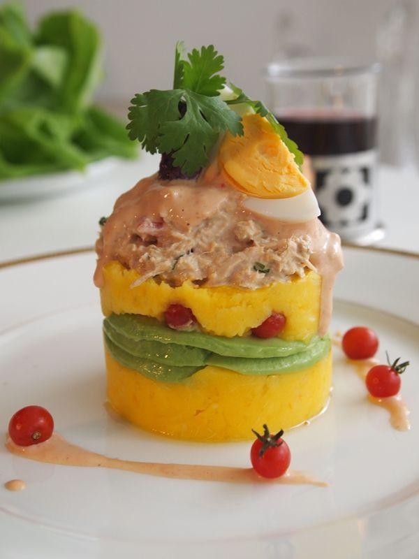 Yucca Causa With Chipotle Tuna Salad Recipe Peruvian Recipes Peruvian Dishes Peruvian Cuisine