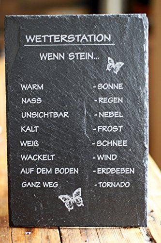 Wetterstation auf Schiefertafel - Geschenk für humorvolle Gartenfans!