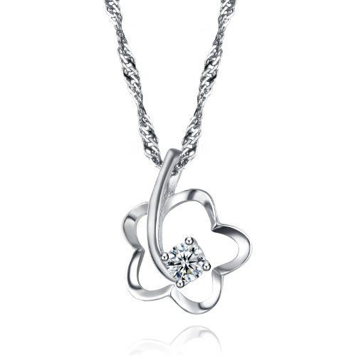 925 Sterling Silver Necklace Hollow Flower Pendant with Cubic Zirconia/CZ Diamonds 18