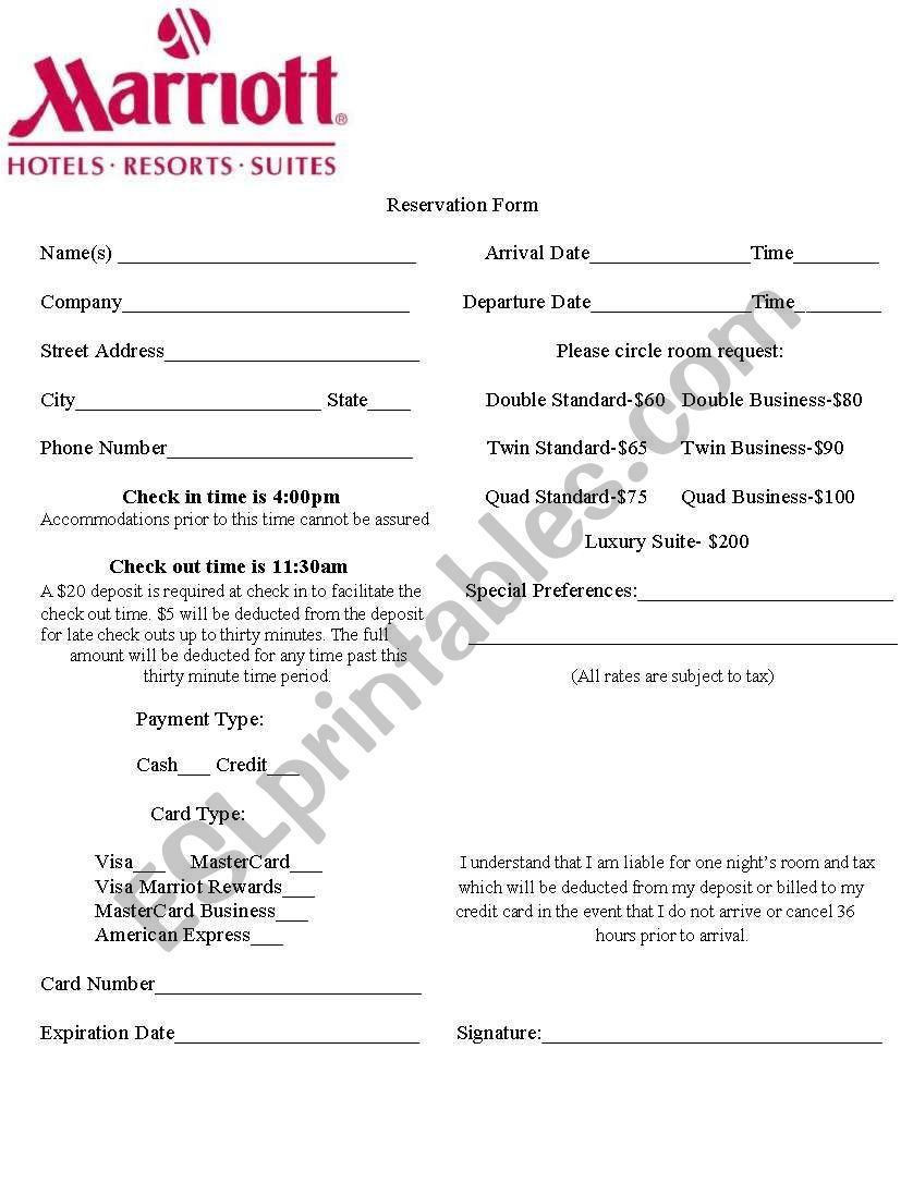 Hotel Reservation Form That Can Be Used As A Speaking And Listening Task Have One Student Play The Role Of The Hotel Reservations Hotel Vocabulary Worksheets
