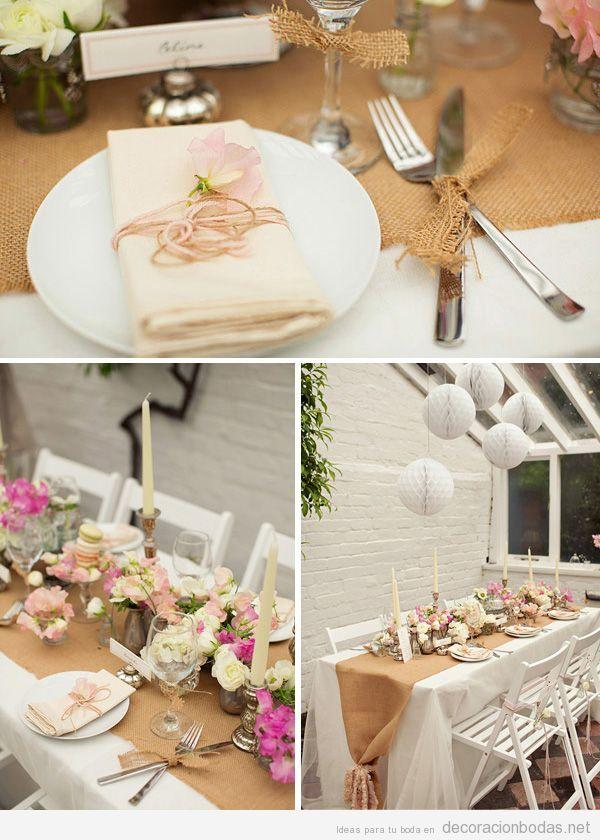 Decoraci n de boda con detalles en yute tela arpillera o - Arreglos con globos para boda ...