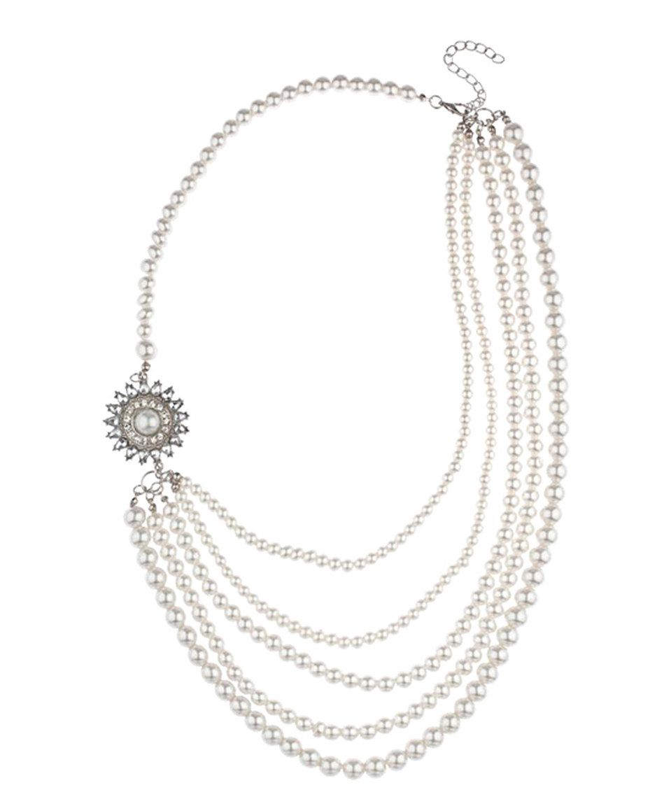 Look at this #zulilyfind! White Multi-Strand Faux Pearl Necklace by Lux Accessories #zulilyfinds