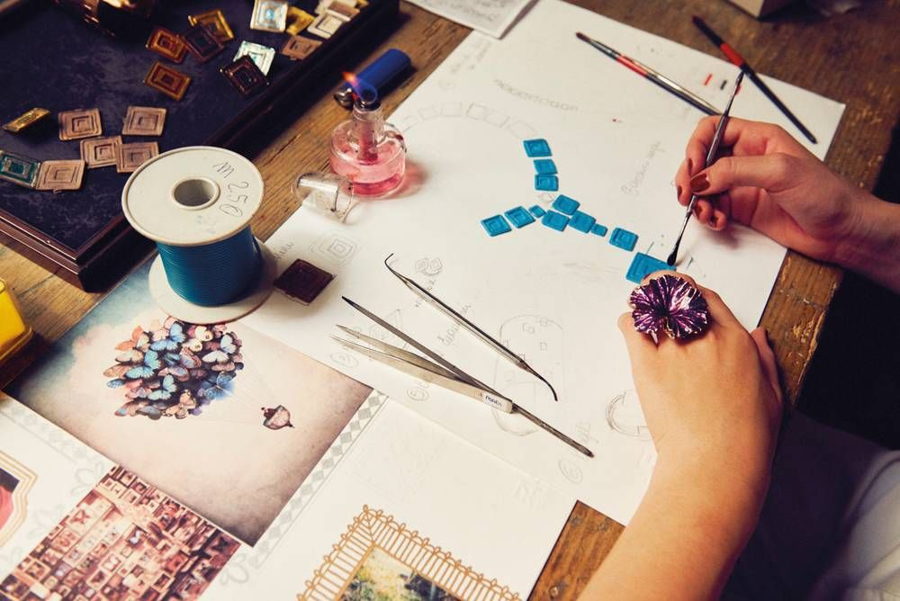 """""""I'm always at my mood board, cutting and sticking and painting."""" —Madina Visconti di Modrone"""