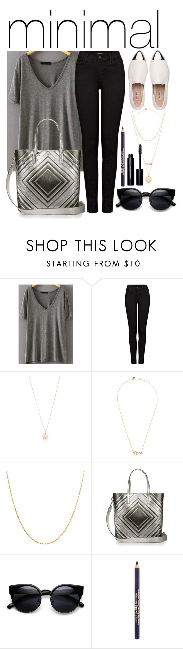 """minimalism"" by romi-kella on Polyvore featuring J Brand, Kate Spade, Miu Miu, Jeweliq, Sterling Essentials, Anya Hindmarch, Estée Lauder and Bobbi Brown Cosmetics"