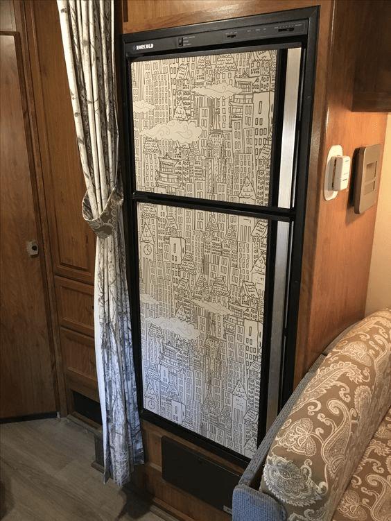 Peel And Stick Wallpaper Fridge Refrigerator Makeover Rv Refrigerator Fridge Makeover