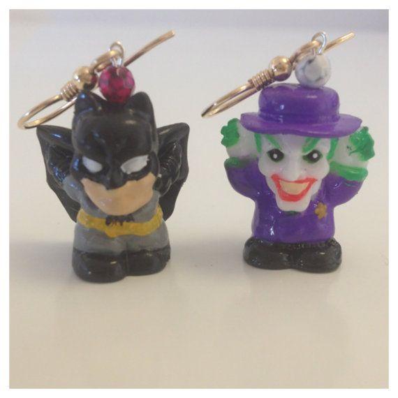 Batman & The Joker Earrings by IntersectingDesigns on Etsy, $15.00