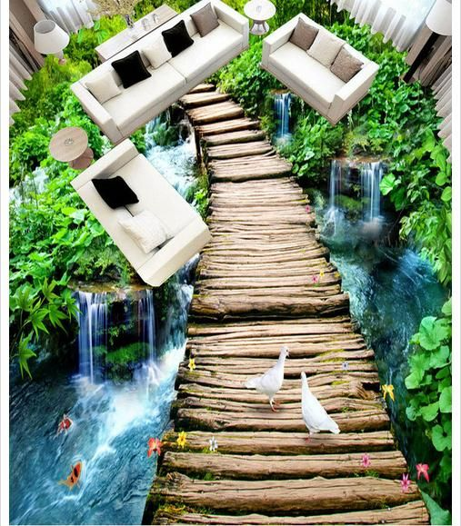 Kia Trois Rivières >> Custom Photo Floor Wallpaper 3d Large Wooden Bridge Flowing Water