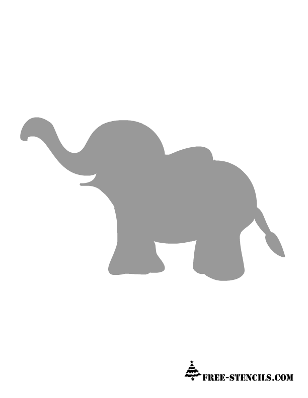 This Elephant Can Easily Be Cut Out And Placed On Colored Paper Or Fabric Could Used As A Stencil Template