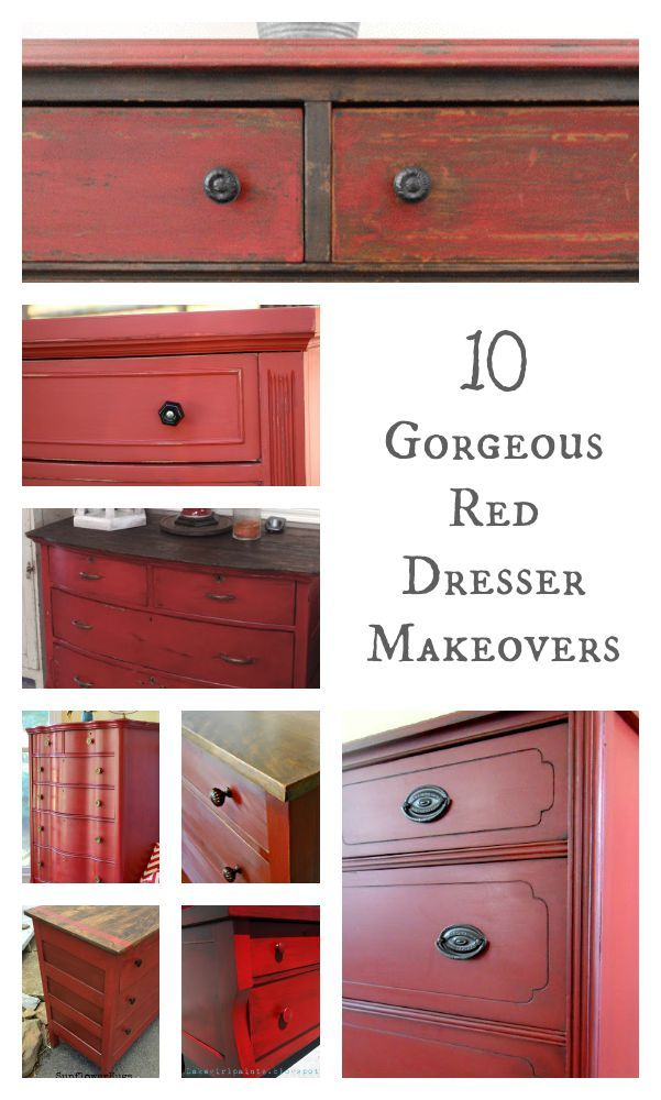 Top Red Dresser Makeovers Painted Furniture Ideas Red Painted Furniture Painted Furniture Furniture Diy