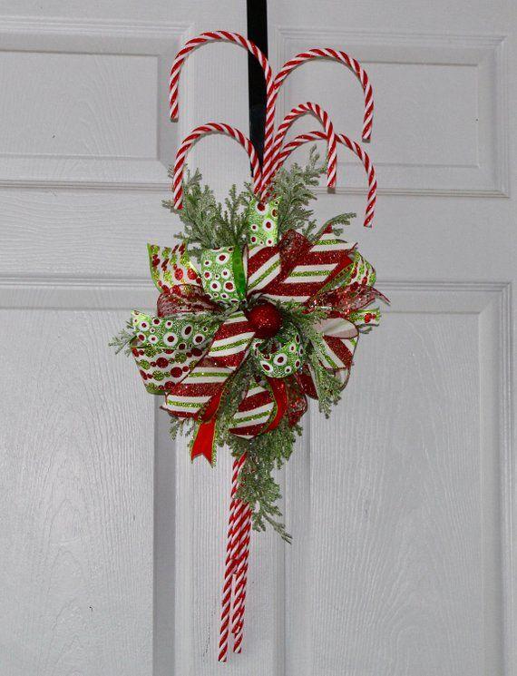 Candy Cane Wreath, Candy Cane Door Hanger, Christmas Candy Cane Wreath, Candy Cane Christmas Wreath, Candy Cane Front Door Wreath