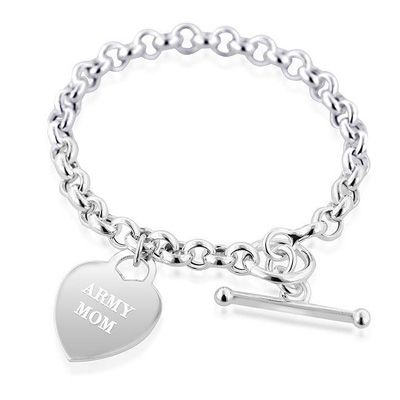 Sterling Silver Army Mom Heart Charm Bracelet 1 3 Lines Little Sister